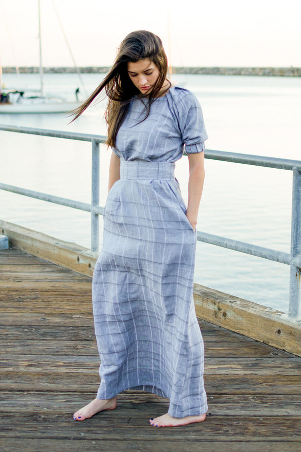 grey linen maxi dress, gray linen maxi dress, grey maxi dress, gray maxi dress, luxury linen, puff sleeve dress, pearl swimwear, heather fish