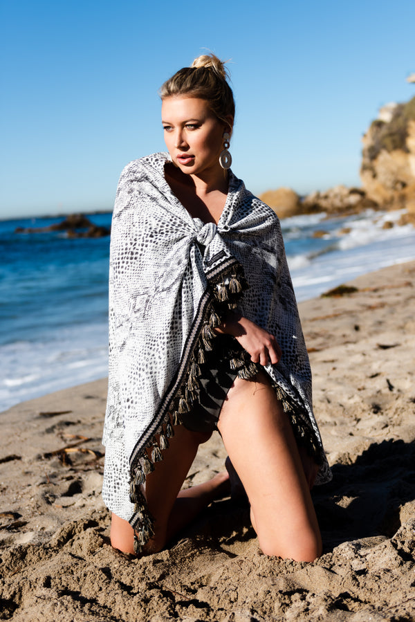 luxury wrap, beach towel, beach towel with tassels, pom poms, sarong, pearl swimwear, heather fish