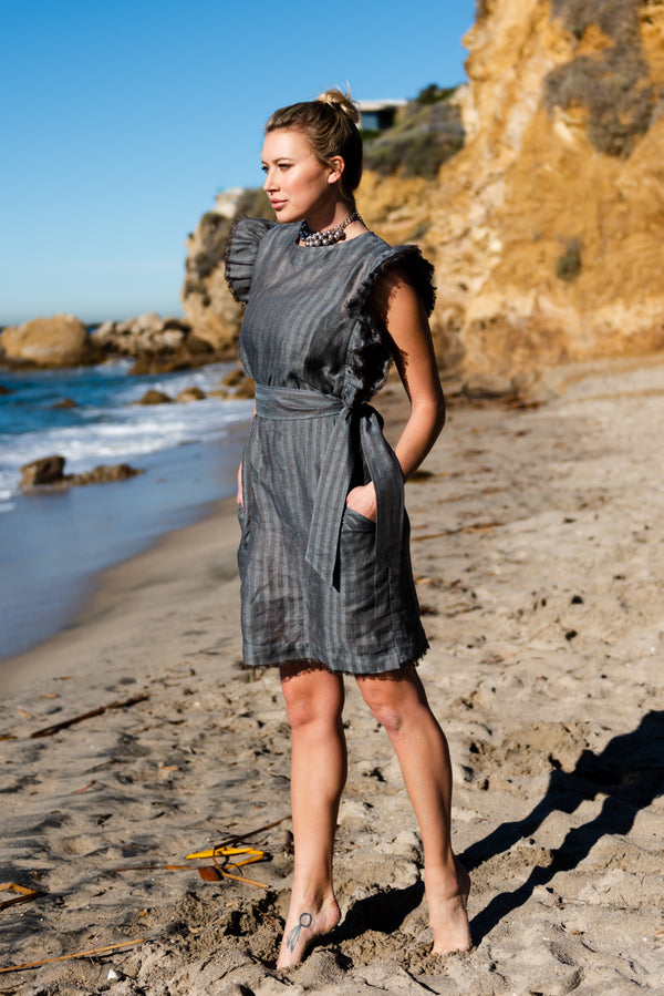 luxury linen, grey linen dress, gray linen dress, midi dress, vacation dress, ruffle dress, dress with ruffles, linen dress , resort wear, pearl swimwear, heather fish
