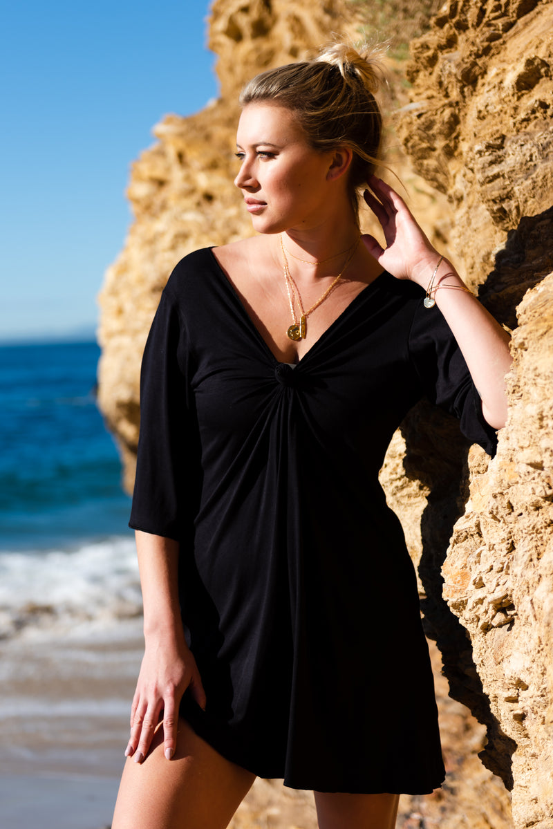 jersey dress, little black dress, swimsuit cover up, pearl swimwear, heather fish