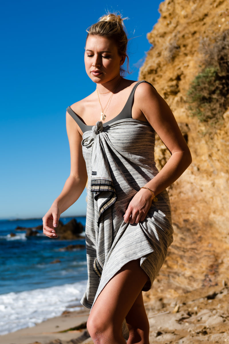 luxury beach wrap, beach towel, sarong, poncho, pearl swimwear, heather fish