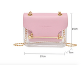 Women Small Square Shoulder Bag Clear Transparent