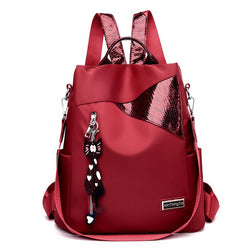 Simple style ladies backpack anti-theft Oxford cloth tarpaulin stitching bag