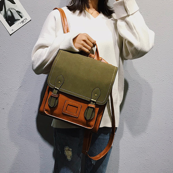 Vintage Pu Leather Women Backpack Fashion Travel Bag Satchel