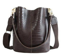 Crocodile Cross body Bag For Women Shoulder Bag Luxury Bucket Handbag