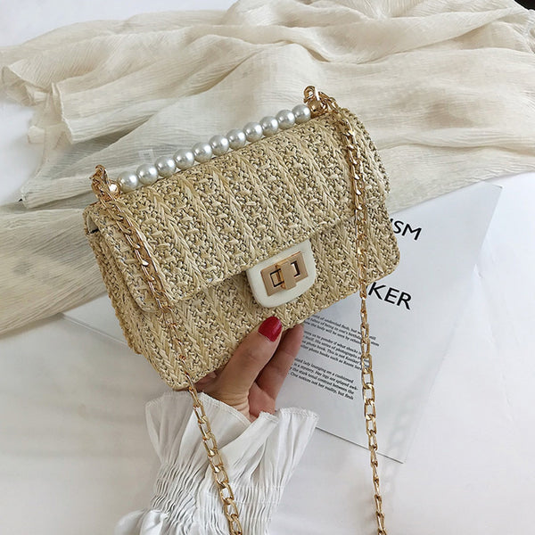 Women Summer Rattan Bag Handmade Woven Straw Beach Bag