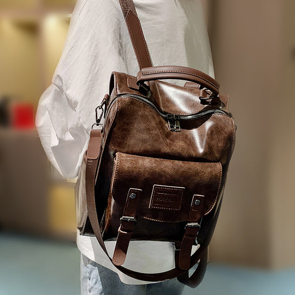 Women's Leather Backpack Rucksack Bag Satchel