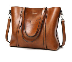 Women bag Oil wax Leather Handbags Luxury Lady Hand Bags