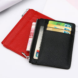 Large Wide Genuine Leather ID Card Holder Zipper Card ID Holder