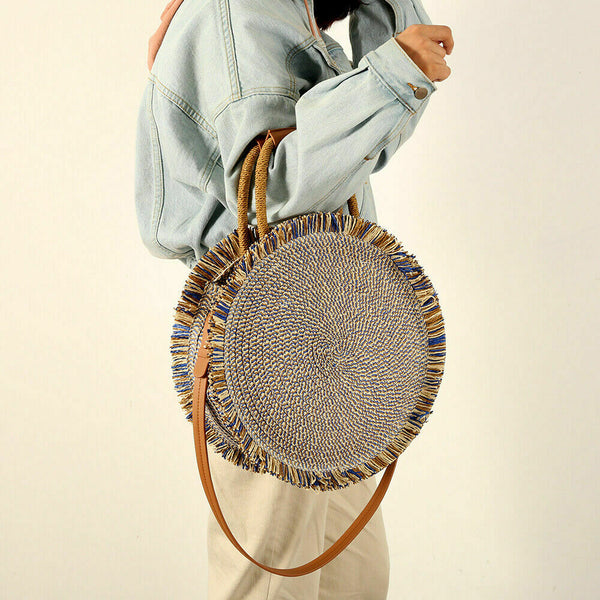 Boho Woven Tote Shoulder Bags Summer Beach Rattan Straw Circle Bag