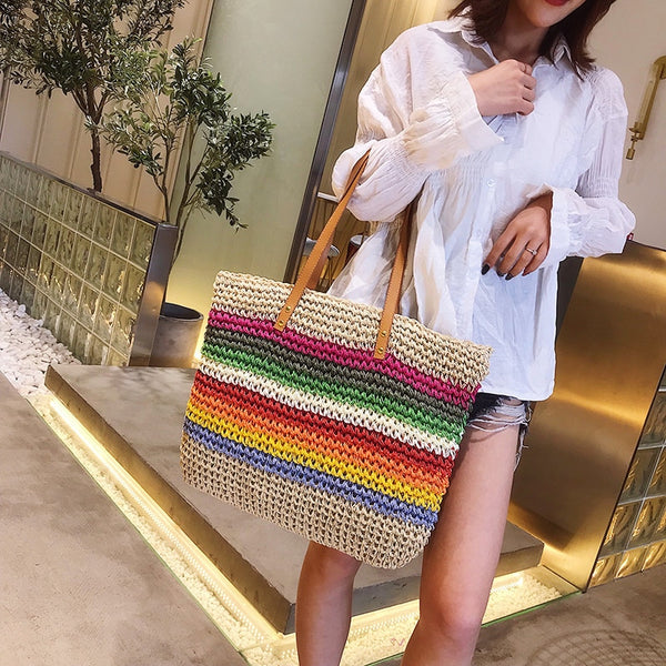 Women luxury straw handbag wicker shoulder hand bag