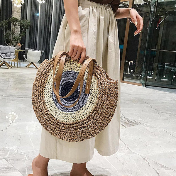 Women Round Straw Bags Summer Rattan Bag