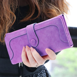 Long Women's Wallet Faux Suede Clutch Purse
