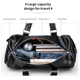 Men's Black Travel H Bag Waterproof Leather Large Capacity Gym Duffle Bags