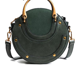 Round Luxury Crescent Circle Leather Drum Cross Body Bag
