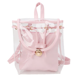 Women's 2 in 1 Clear Drawstring Backpack Transparent Travel Beach Rucksack Bag