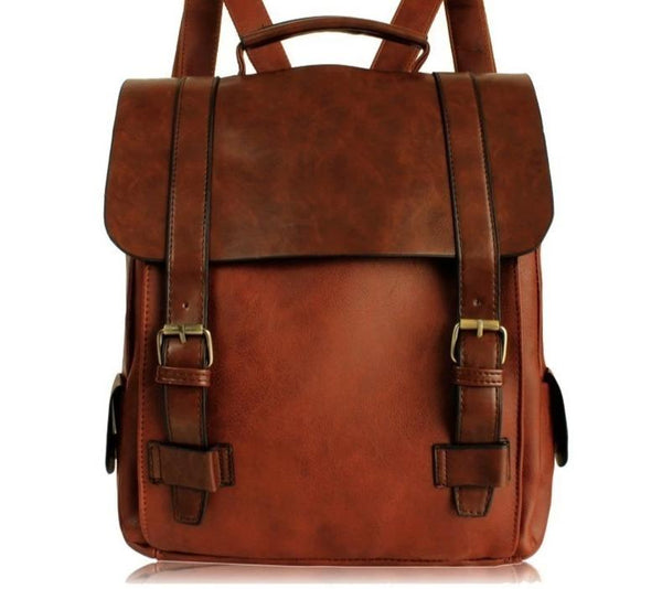 Vintage Leather Travel Backpack Bookbag Satchel