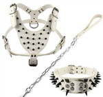 3 Piece Leather Spiked Set