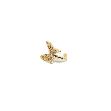 Earcuff Butterfly White On Gold