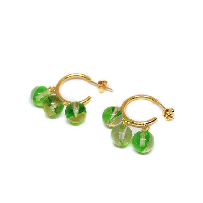 Earrings Psiche Green On Gold