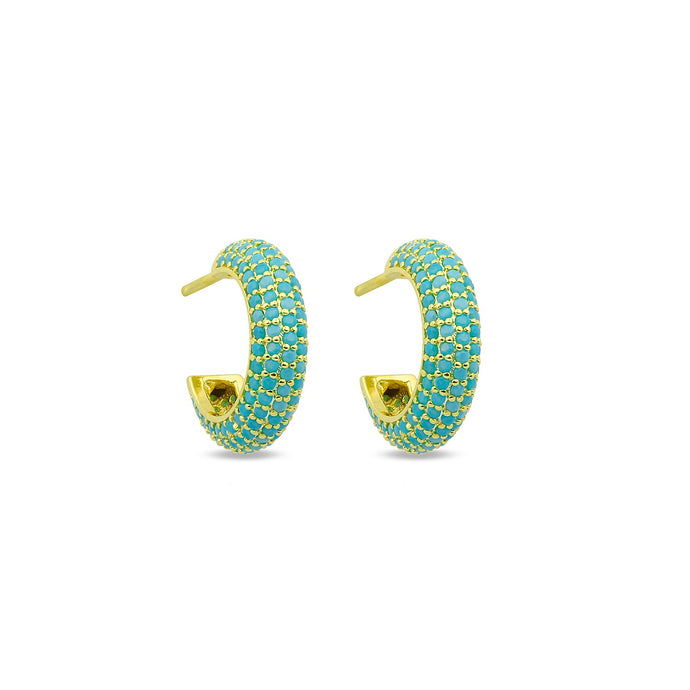 Earrings Maxi Hoops Turquoise On Gold