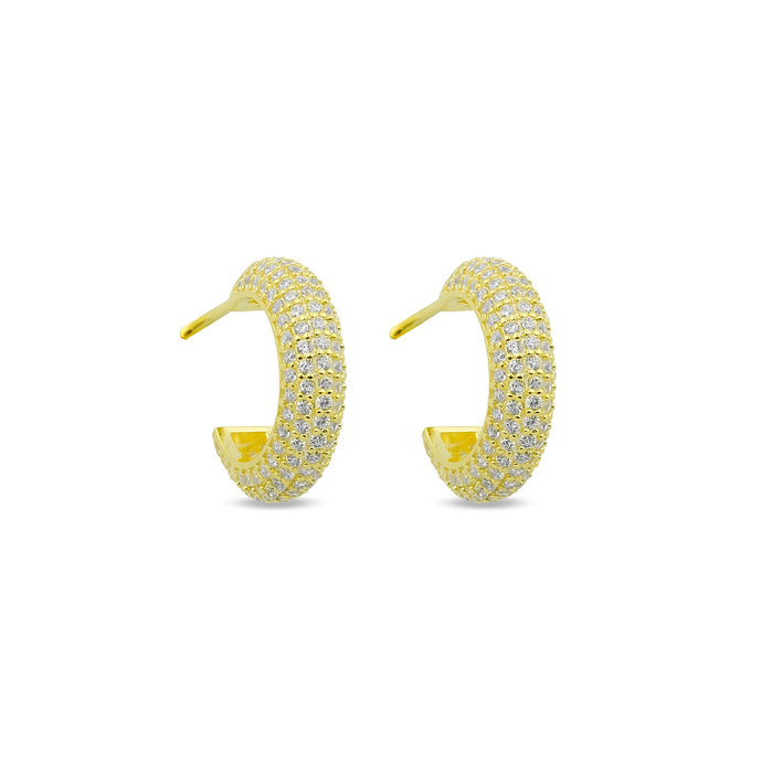Earrings Maxi Hoops White On Gold