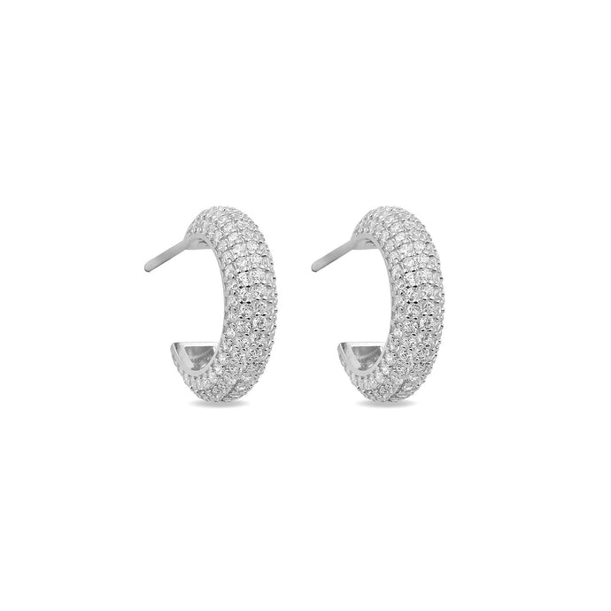 Earrings Maxi Hoops White On Silver