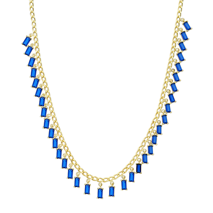 Necklace Moonstone Blue On Gold