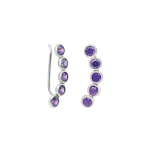 Earrings Pioggia Purple on Silver