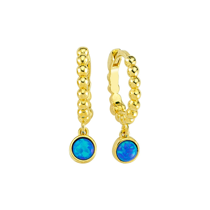 Earrings Opal Cirque Blue on Gold