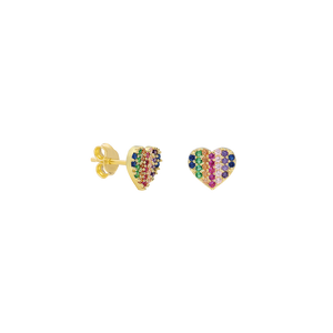 Earrings Cuoricino Rainbow on Gold
