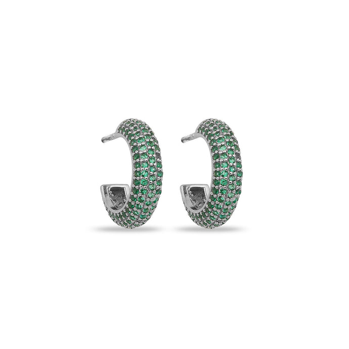 Earrings Maxi Hoops Green On Silver
