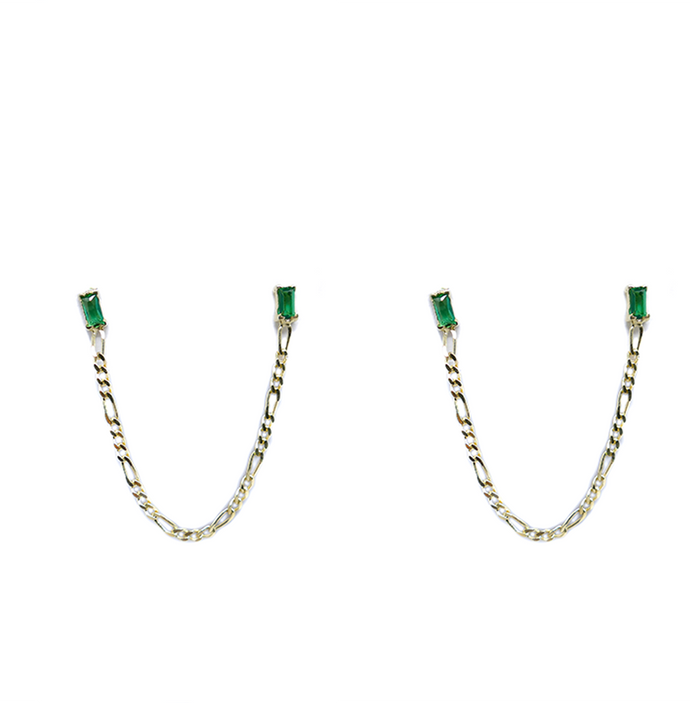 Earrings Minerva Green on Gold