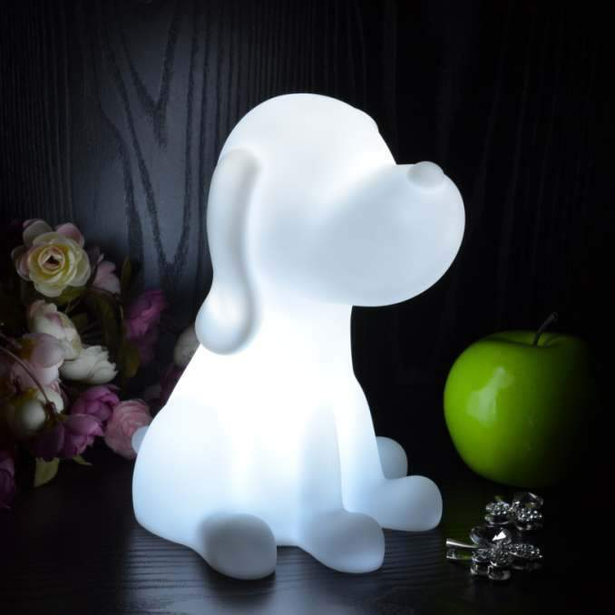 Nachtlamp Kids Bedlamp op Batterijen LED Speelgoedlamp, Hond