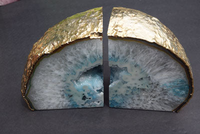 Light Blue Agate with Crystals Bookends - MOONCHILD PRODUCTS