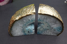 Load image into Gallery viewer, Light Blue Agate with Crystals Bookends - MOONCHILD PRODUCTS