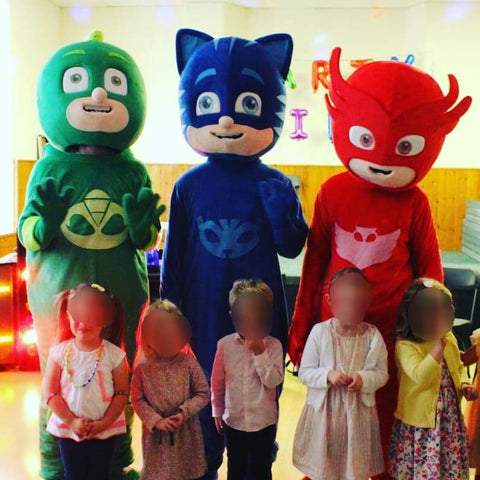 Pj Masks Catboy, Gekko, Owlette fancy dress costume self-hire service in the UK.  Brilliant for self-wear party entertainment.  Suitable for Birthday parties, Childrens entertainment, Events, Shop openings, Schools, Celebrations and surprises.
