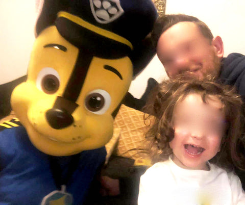 Paw Patrol Chase fancy dress costume self-hire service in the UK.  Brilliant for self-wear party entertainment.  Suitable for Birthday parties, Childrens entertainment, Events, Shop openings, Schools, Celebrations and surprises.