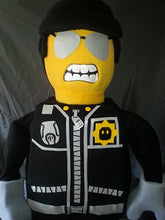 Load image into Gallery viewer, LEGO Mascot fancy dress costume hire Emmett Wyldstyle Good Cop Bad Cop LEGO Batman