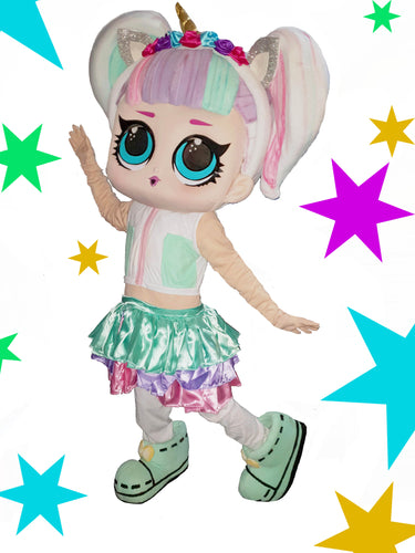 LOL UNICORD DOLL Mascot Fancy Dress Costume hire