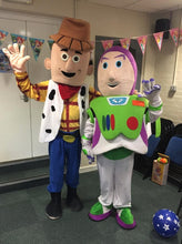 Load image into Gallery viewer, WOODY and BUZZ Lightyear Toy Story Adult Mascot Fancy Dress Costume Hire