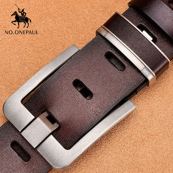NO.ONEPAUL Men's leather alloy pin buckle jeans belt fashion business cow genuine leather men's youth luxury  Menx classic belts