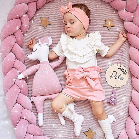 3pc/Set Cute Children Short Sleeve Set Toddler Kids Baby Girls Ruffled T Shirts Tops + Bow Shorts + Hair Band Outfits Sets Wear