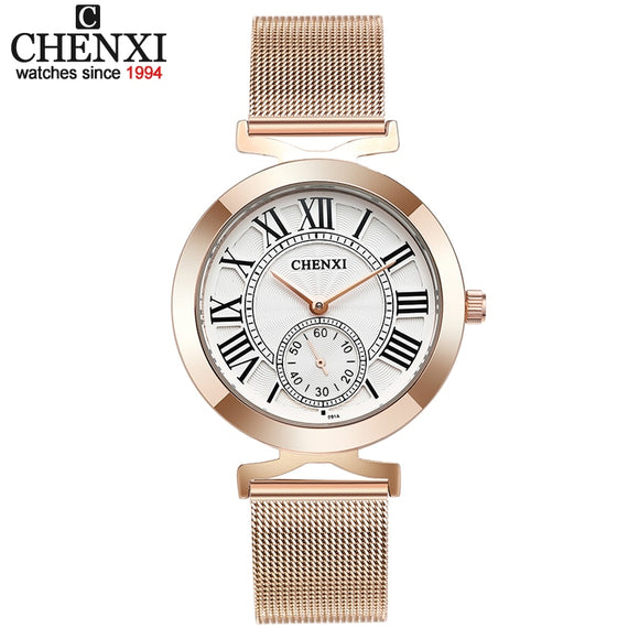 CHENXI Top Brand Fashion Women Watch Women's  Quartz Wrist watches 2019 Female Clock Leather or stainless steel Watches xfcs