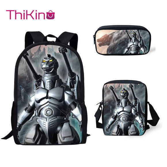 Thikin Godzilla Monstar 3Pcs/set Children Fashion School Bags for Boys School Backpack for Teen Boys Girls  PURSEX  Book Bags