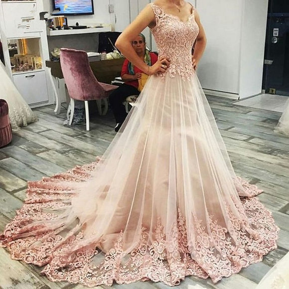Boho Vestido De Noiva 2019 Muslim Wedding Dresses A-line Sweetheart Tulle Appliques Lace Dubai Arabic Weddinggowns  Bridal