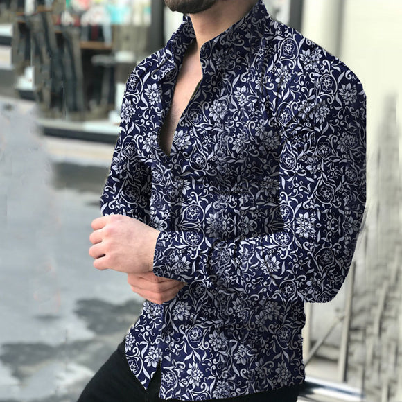 Long Sleeve Retro Flower Shirts 3D Printed Floral Shirt Turn-down Collar Printed Floral Mens Clothing Button Shirt Top  Menx