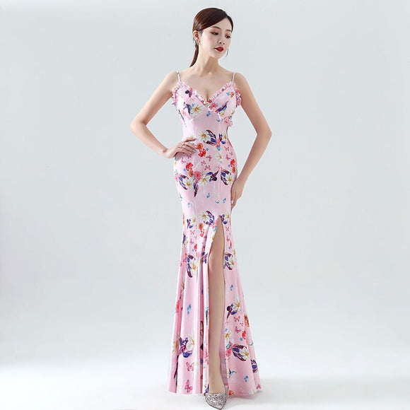 Evening Long Dress Feminine dress pink Birthday Party Women Sexy mermaid dress V-Neck Coming-of-age ceremony  WOMDRESS Backless