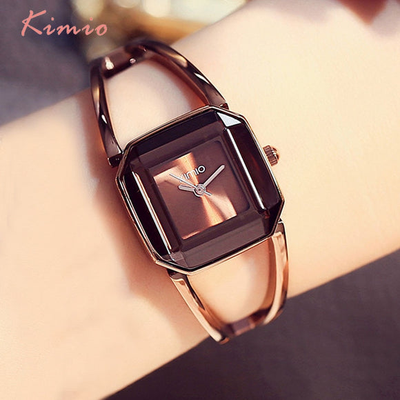 KIMIO Square Fashion Skeleton Bracelet Rose Gold Watches 2017 Luxury Brand Ladies Watch Women Female Quartz-watch Wristwatches
