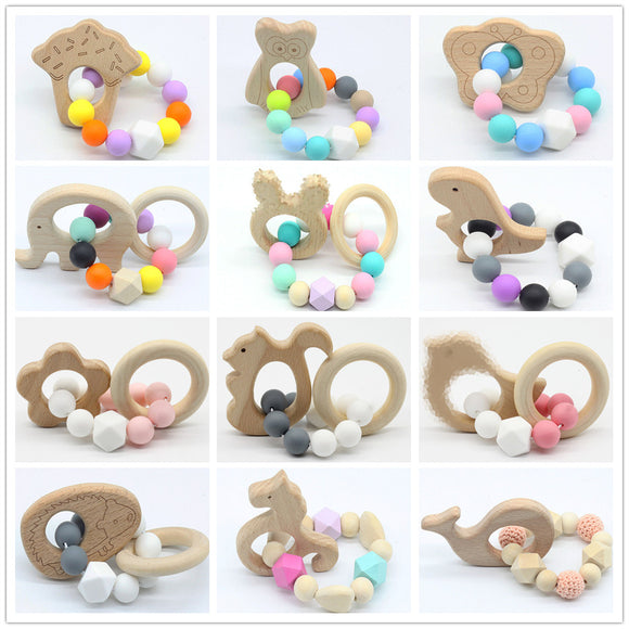 Baby Nursing Bracelets Wooden Teether  Silicone Beads Teething Wood Rattles Toys Baby Teether Bracelets Nursing Toys  toyex